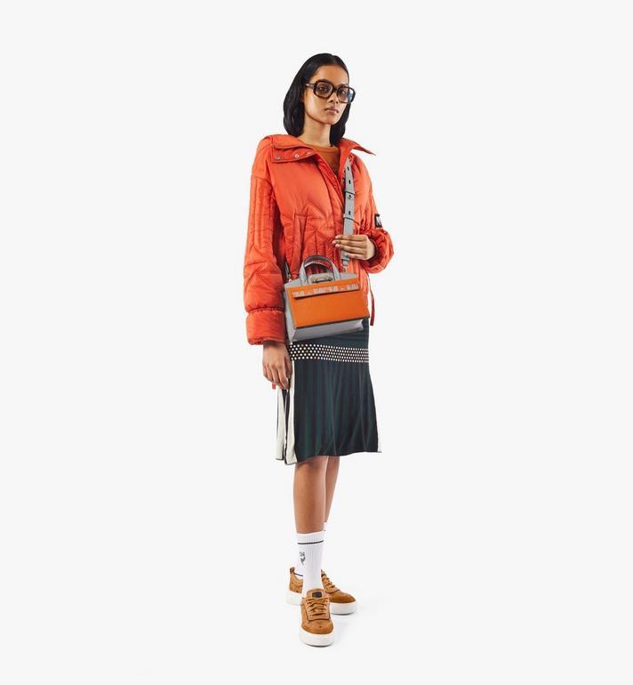 MCM Milano Tote in Color Block Goatskin Leather Orange MWTAADA02O4001 Alternate View 5