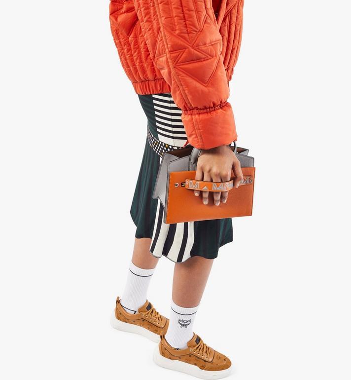 MCM Milano Tote in Color Block Goatskin Leather Orange MWTAADA02O4001 Alternate View 7