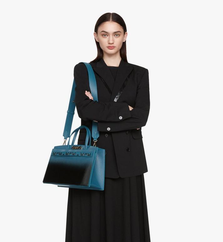 MCM Milano Tote in Patent Leather Gradient Black MWTASDA01BK001 Alternate View 6