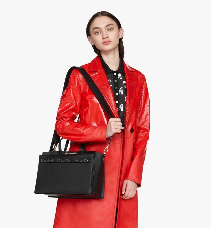 MCM Milano Tote Bag in Goatskin Leather Black MWTASDA03BK001 Alternate View 7