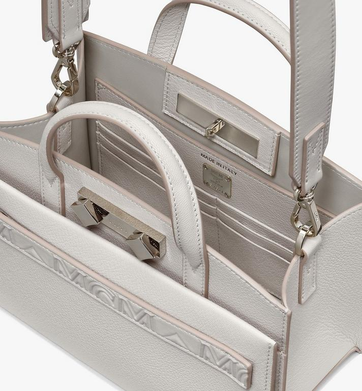 MCM Milano Mini Tote Bag in Goatskin Leather Beige MWTASDA04IH001 Alternate View 4