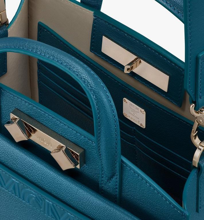 MCM Milano Mini Tote Bag in Goatskin Leather Green MWTASDA04JF001 Alternate View 4
