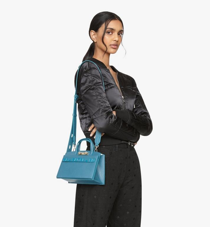 MCM Milano Mini Tote Bag in Goatskin Leather Green MWTASDA04JF001 Alternate View 6