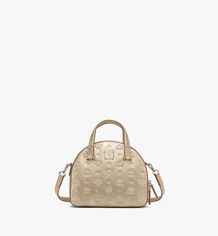 MCM Essential Half Moon Tote in Monogram Metallic Leather Alternate View