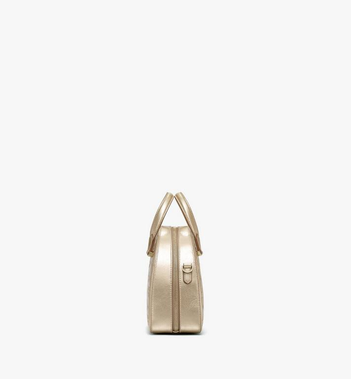 MCM Essential Half Moon Tote in Monogram Metallic Leather Gold MWTASSE02T1001 Alternate View 2