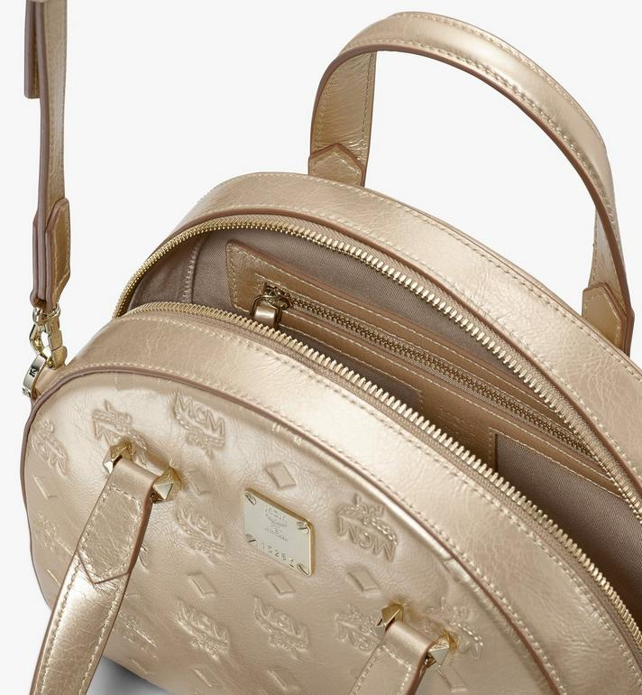 MCM Essential Half Moon Tote in Monogram Metallic Leather Gold MWTASSE02T1001 Alternate View 4