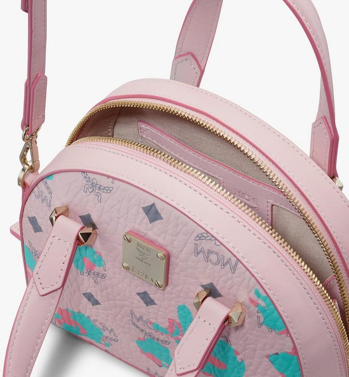 MCM Mini Essential Half Moon Tote in Floral Leopard Pink MWTASSE05QI001 Alternate View 4