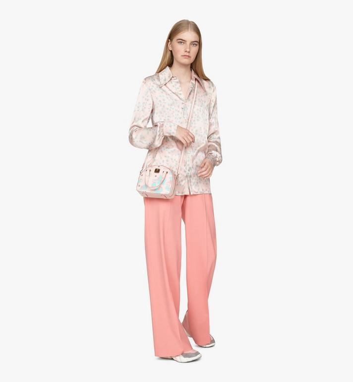 MCM Mini sac fourre-tout Essential Half moon à imprimé Floral Leopard Pink MWTASSE05QI001 Alternate View 5
