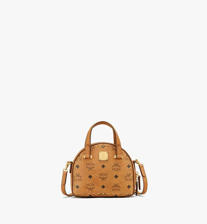 MCM Essential Half Moon Tote in Studded Visetos Alternate View