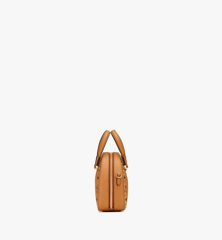 MCM Essential Half Moon Tote in Studded Visetos Cognac MWTASSE08CO001 Alternate View 2
