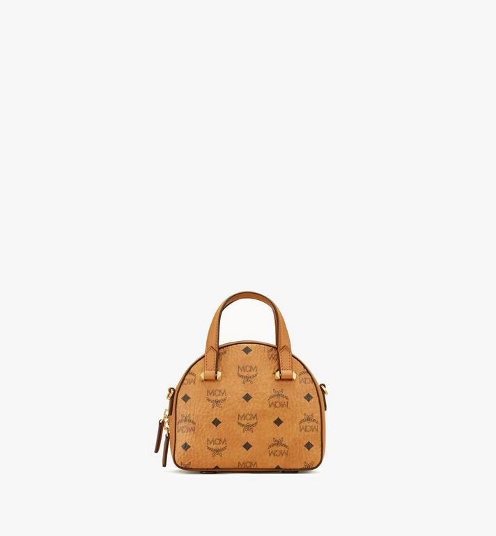 MCM Essential Half Moon Tote in Studded Visetos Cognac MWTASSE08CO001 Alternate View 3