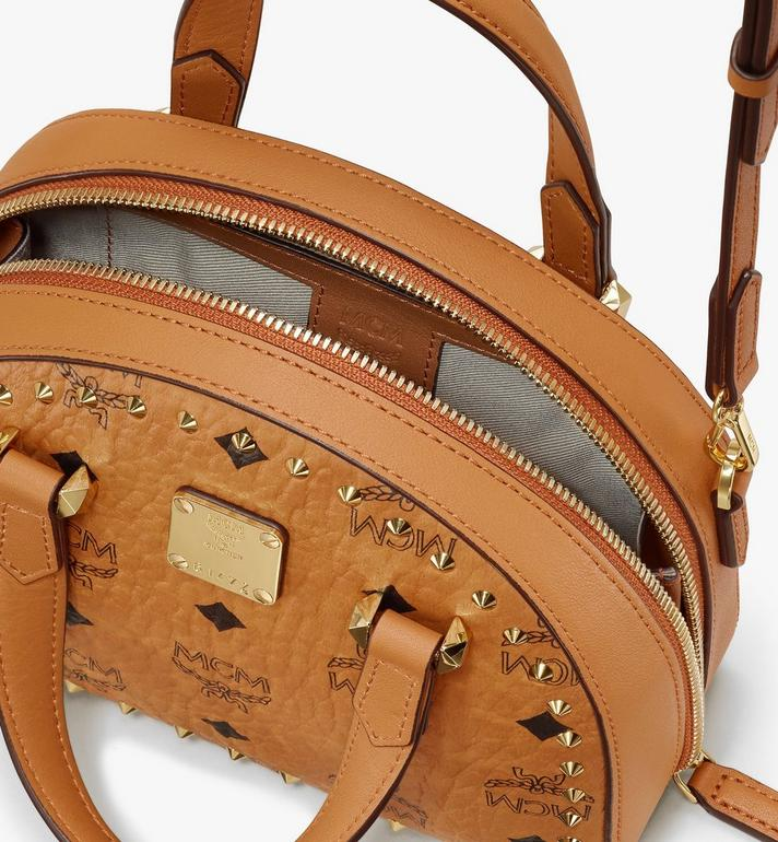 MCM Essential Half Moon Tote in Studded Visetos Cognac MWTASSE08CO001 Alternate View 4