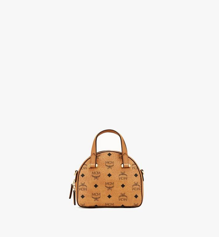 MCM Mini Essential Half Moon Tote in Visetos Original Cognac MWTASSE20CO001 Alternate View 3