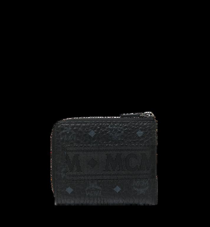 MCM Abgerundete Reissverschluss-Brieftasche in Webbing Visetos Black MXA9SVI91BK001 Alternate View 3