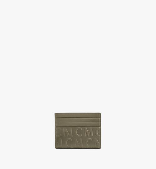 MCM 花押字圖案皮革卡片夾