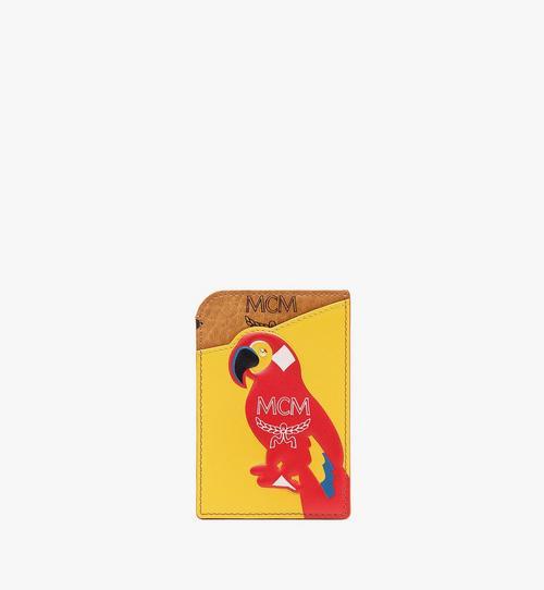 Porte-cartes vertical MCM Zoo perroquet en mélange de cuir et Visetos