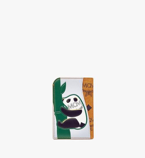 Porte-cartes vertical MCM Zoo panda en mélange de cuir et Visetos