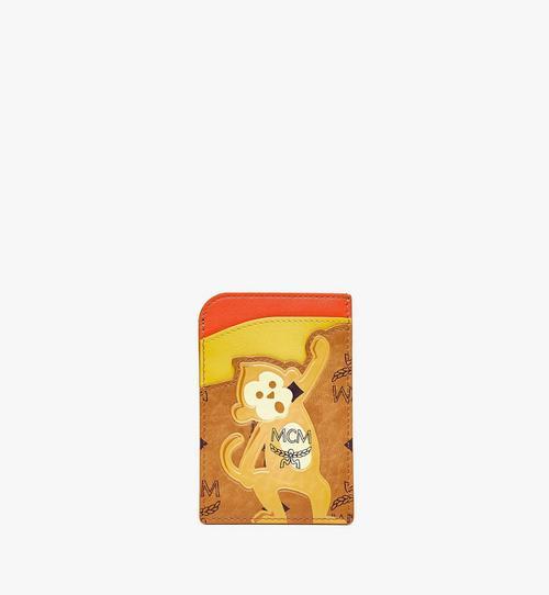 Porte-cartes vertical MCM Zoo singe en mélange de cuir et Visetos