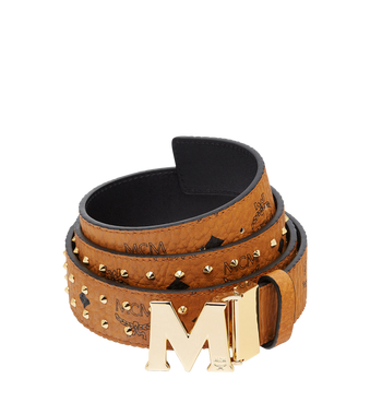 "MCM Claus Flat M Belt 1.5"" in Studded Outline Visetos Alternate View"