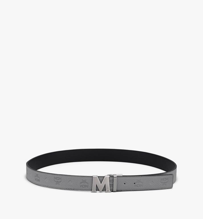 "MCM Claus M Reversible Belt 1.5"" in Monogram Leather Grey MXB9AVI17FK001 Alternate View 3"
