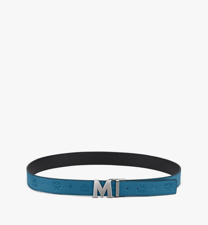 "MCM Claus M Reversible Belt 1.5"" in Monogram Leather Blue MXB9AVI17JF001 Alternate View 3"