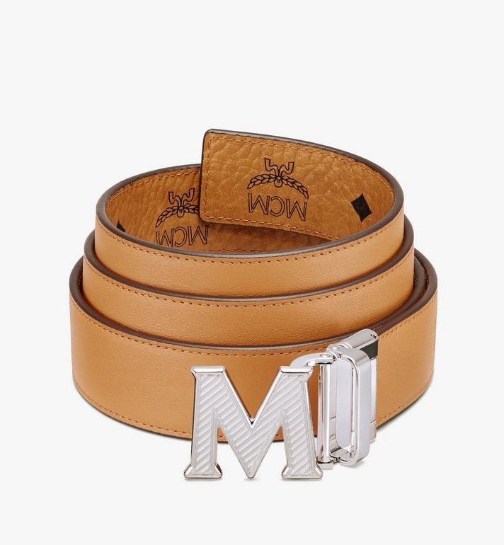 """MCM Claus Oblique M Reversible Belt 1.5"""" in Visetos Cognac MXBASVI17CO001 Alternate View 2"""