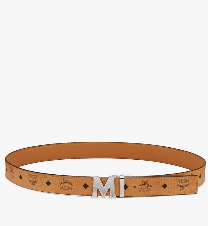 """MCM Claus Oblique M Reversible Belt 1.5"""" in Visetos Cognac MXBASVI17CO001 Alternate View 3"""