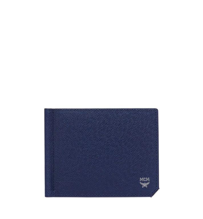 MCM New Bric Money Clip Wallet in Embossed Leather Navy MXC8ALL45VY001 Alternate View 1