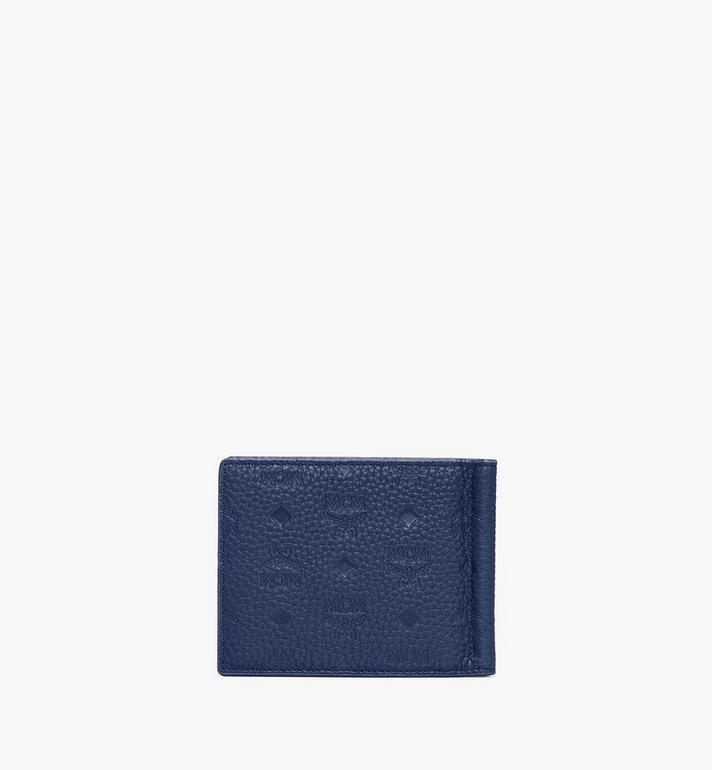MCM Tivitat Money Clip Wallet in Monogram Leather Blue MXC9ABT24VA001 Alternate View 2