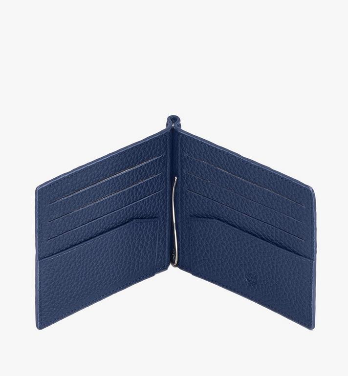 MCM Tivitat Money Clip Wallet in Monogram Leather Blue MXC9ABT24VA001 Alternate View 3