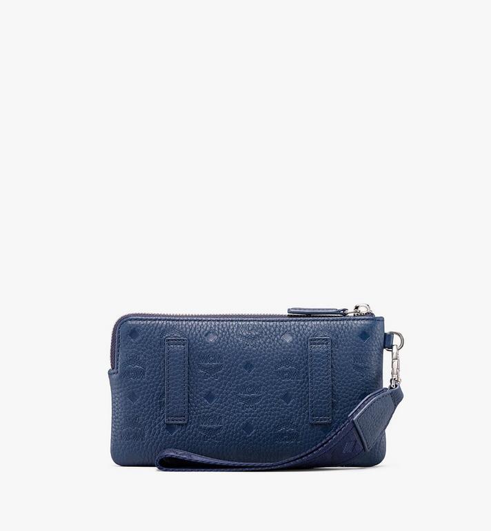 MCM Tivitat Tech Pouch in Monogram Leather Blue MXE9ABT21VA001 Alternate View 2