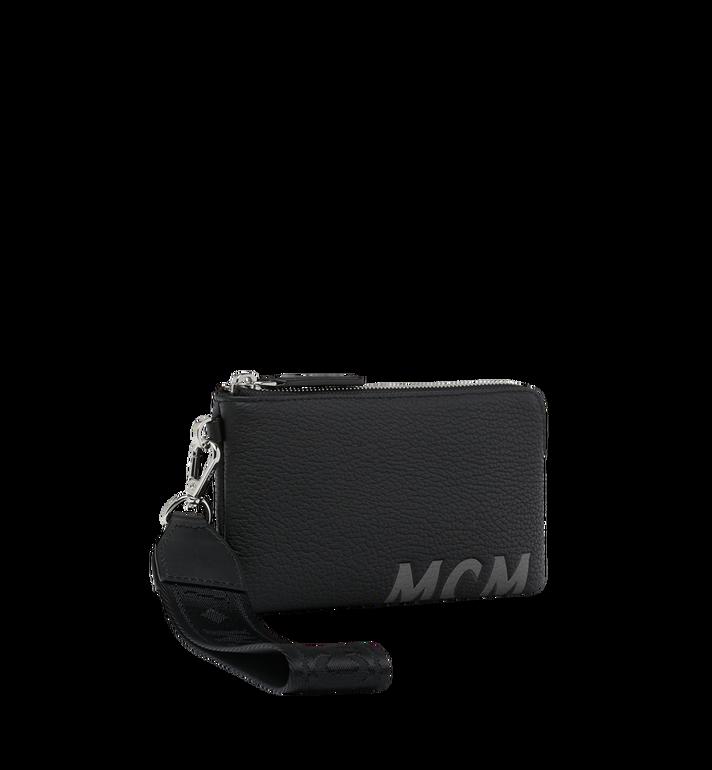 MCM Beutel für Elektrogeräte aus Leder mit Logo-Print Black MXE9SBM01BK001 Alternate View 2