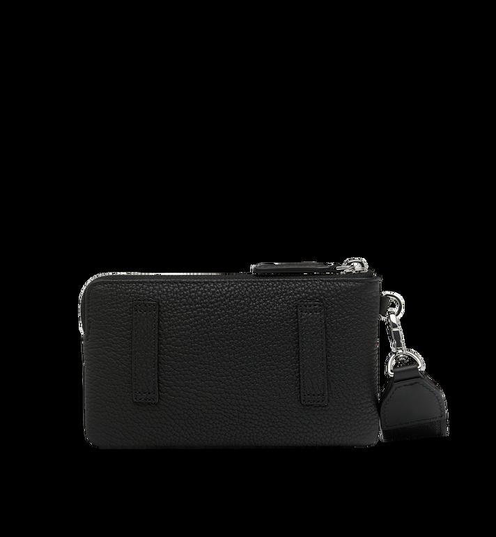 MCM Beutel für Elektrogeräte aus Leder mit Logo-Print Black MXE9SBM01BK001 Alternate View 3