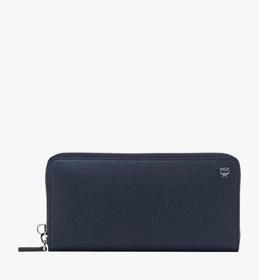 Zip Around Wristlet Wallet in Embossed Leather