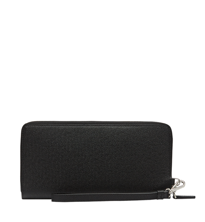 MCM New Bric Zip Wallet with Wrist Strap in Embossed Leather Black MXL8ALL51BK001 Alternate View 3