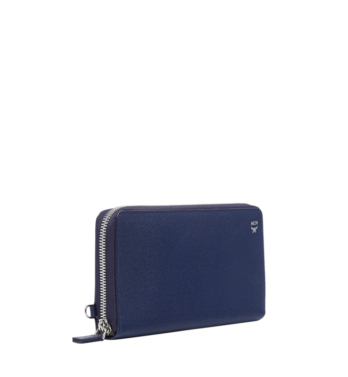 MCM New Bric Zip Wallet with Wrist Strap in Embossed Leather Navy MXL8ALL51VY001 Alternate View 2