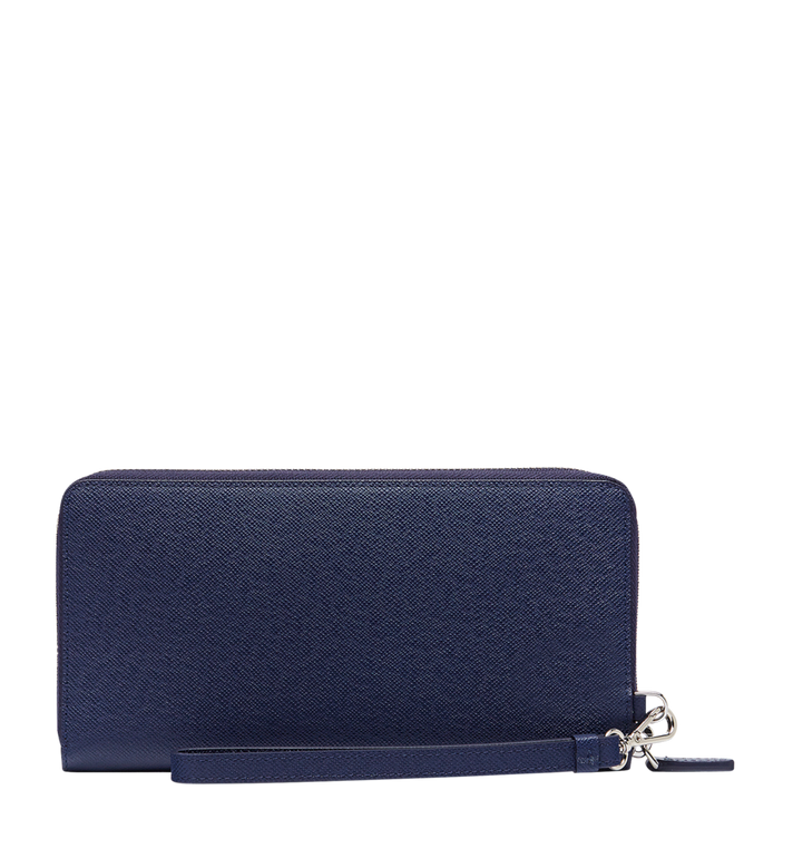 MCM New Bric Zip Wallet with Wrist Strap in Embossed Leather Navy MXL8ALL51VY001 Alternate View 3