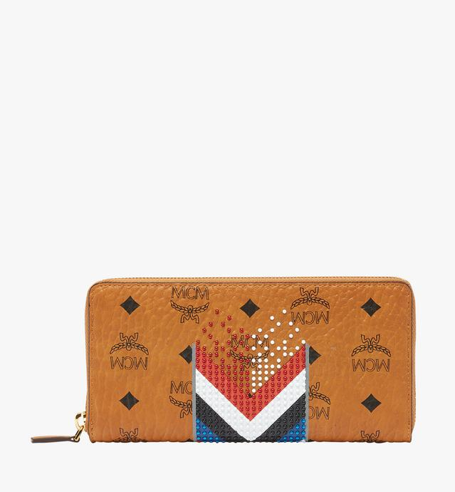 Zip Around Wallet in Chevron Stripe Visetos