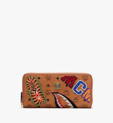 MCM x BAPE Shark Zip Wallet in Visetos