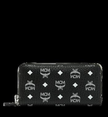 MCM Reissverschlussbrieftasche mit Handgelenksband und Visetos-Logo in Weiss Alternate View
