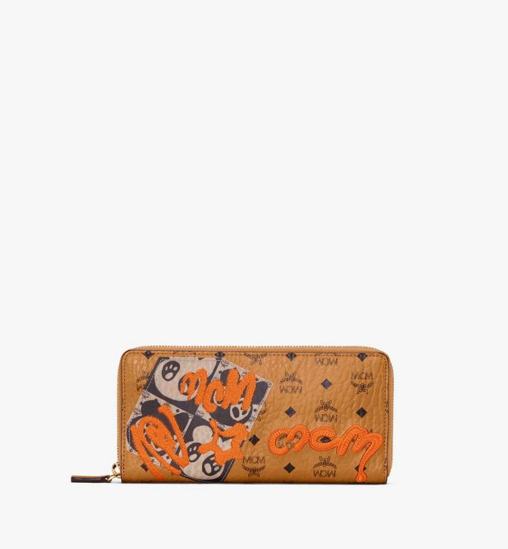 MCM Zip Around Wallet in Berlin Bear Visetos Alternate View