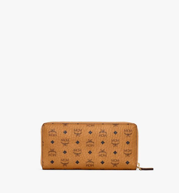 MCM Zip Around Wallet in Berlin Bear Visetos Cognac MXLAAVI03CO001 Alternate View 3