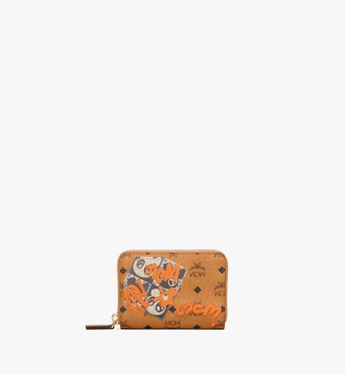 Brieftasche mit Rundum-Reissverschluss in Visetos mit Berliner Bär