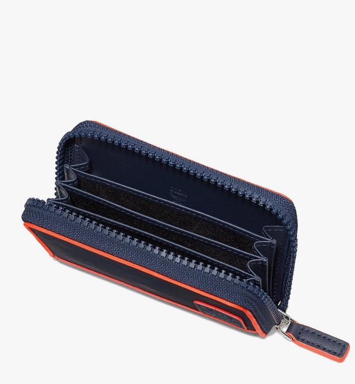 MCM Klassik Brieftasche aus Nylon mit Reissverschluss und Monogramm Blue MXLASKC01VA001 Alternate View 3