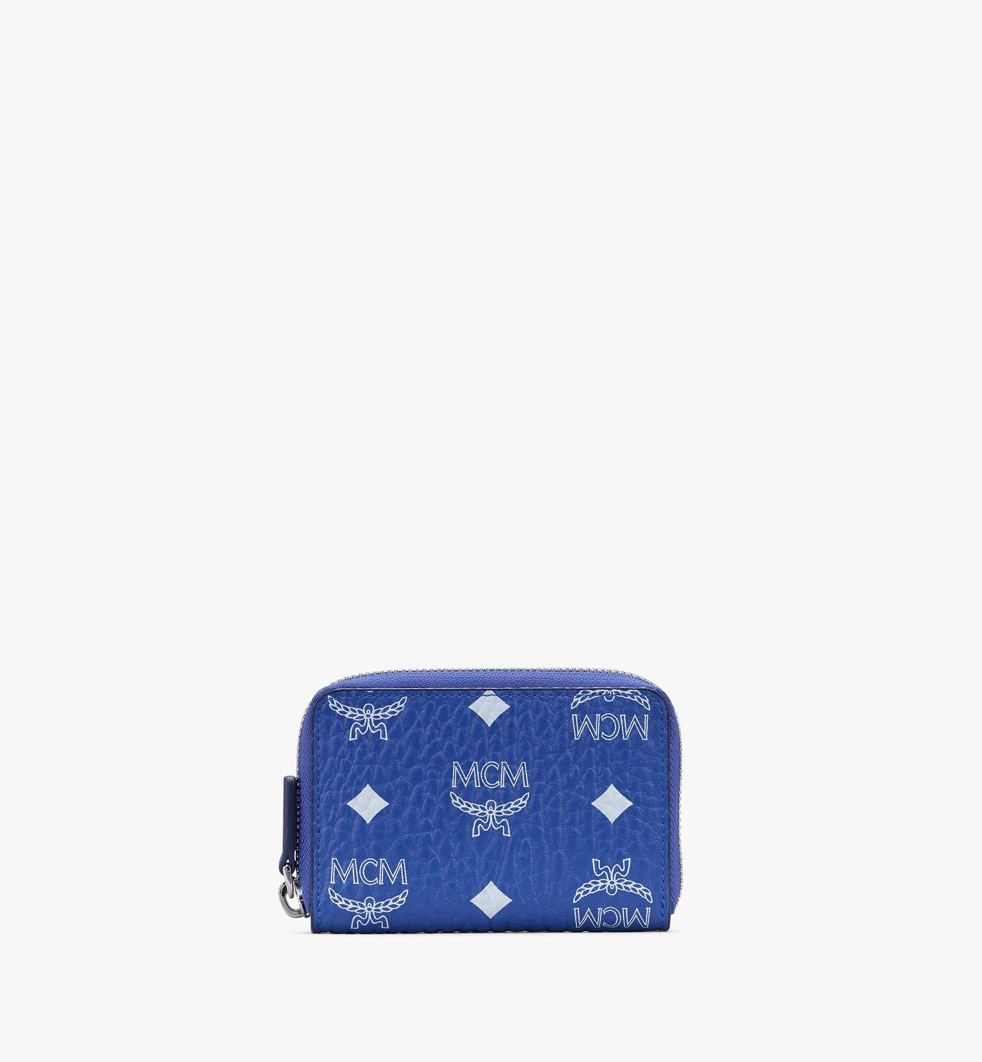 MCM Visetos 系列的全拉鏈式卡夾零錢包 Blue MXLASVI01H1001 Alternate View 1