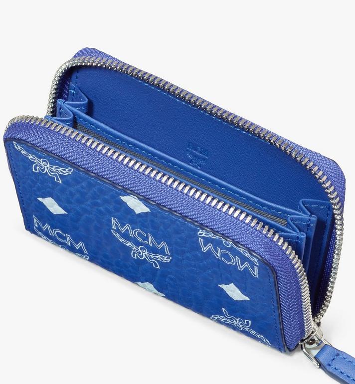 MCM Brieftasche in Visetos mit Kartenetui und Rundum-Reissverschluss Blue MXLASVI01H1001 Alternate View 3
