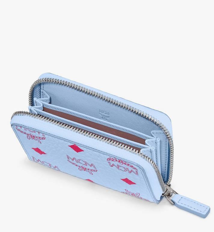 MCM Brieftasche in Visetos mit Kartenetui und Rundum-Reissverschluss Blue MXLASVI01H2001 Alternate View 3