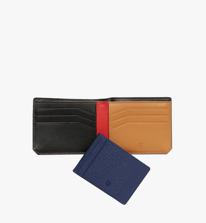 MCM New Bric Bifold with Card Case in Embossed Leather Navy MXS8ALL42VY001 Alternate View 5