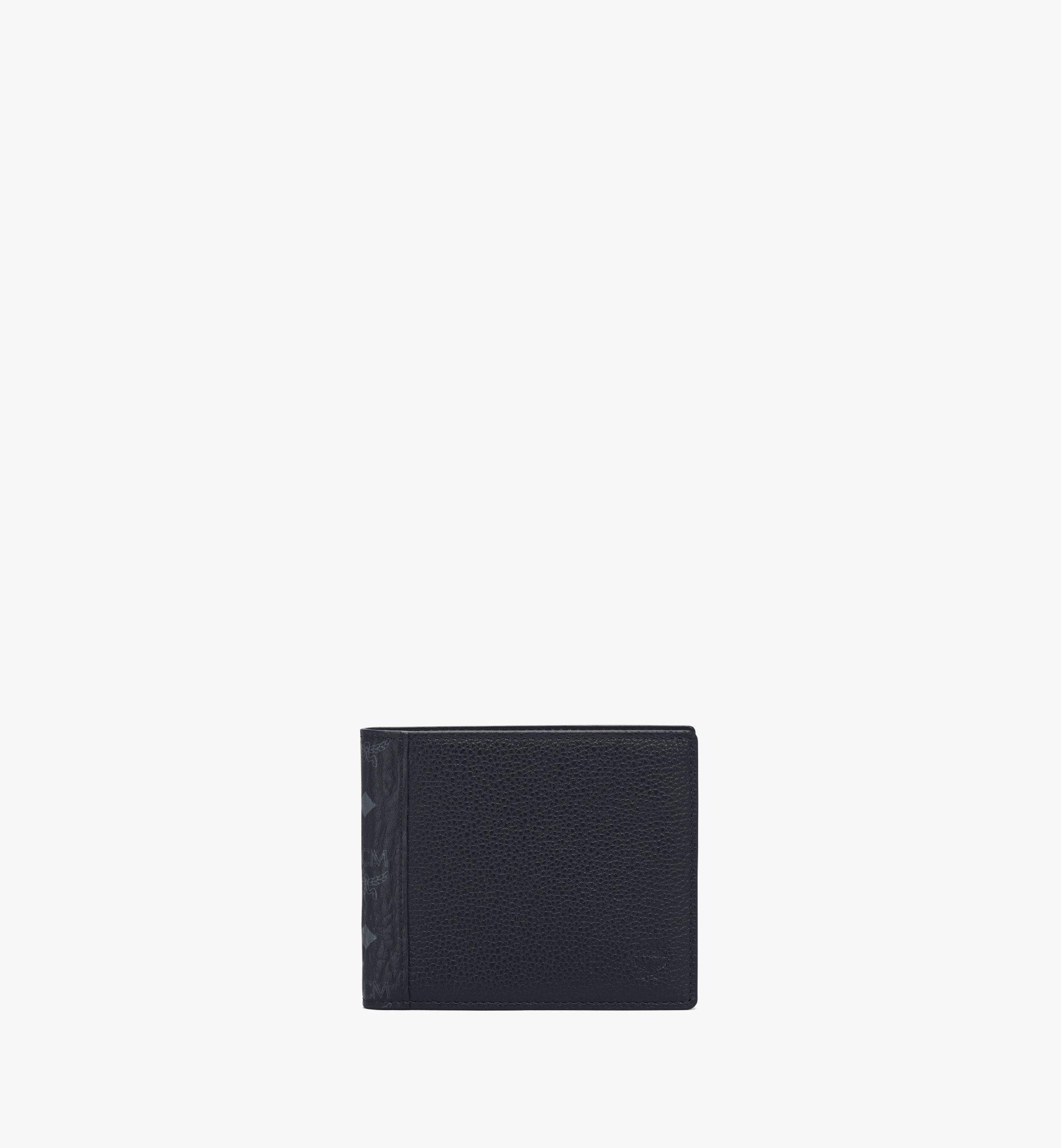 MCM Portefeuille à deux volets en bloc de cuir Visetos Green MXSAAVI07BK001 Alternate View 1