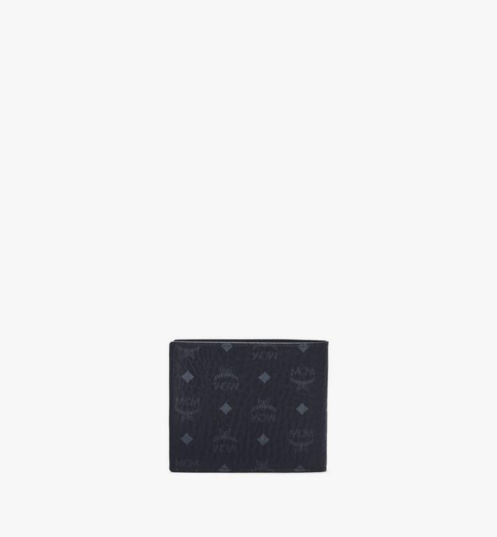 MCM Portefeuille à deux volets en bloc de cuir Visetos Green MXSAAVI07BK001 Alternate View 3